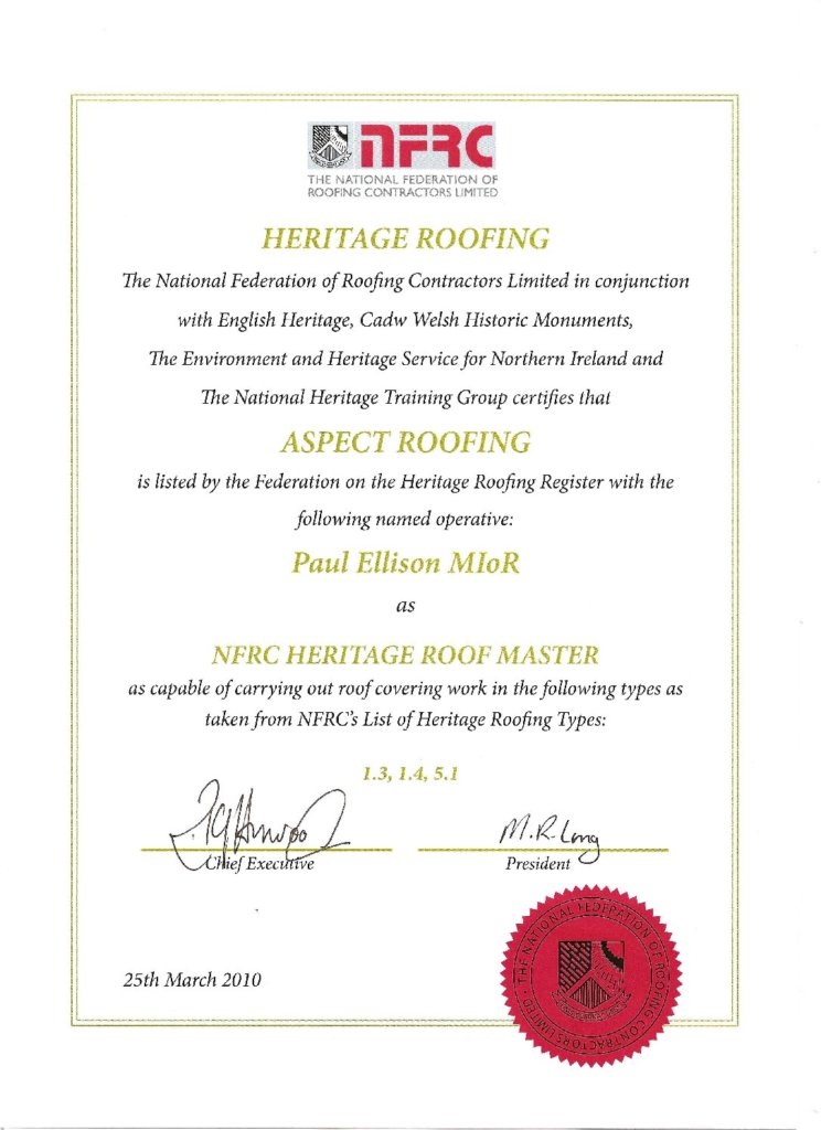Nfrc Heritage Certificate Aspect Group Services